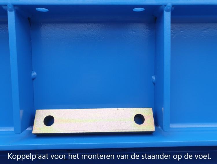 Detail 14. Losse koppelplaat voor monteren van de staander op voet van de draagarmstelling