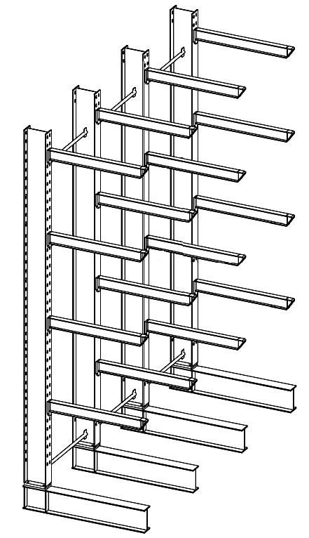 Enkelzijdige kleine draagarmstelling voor binnen met 5 niveaus van 800 mm diep.