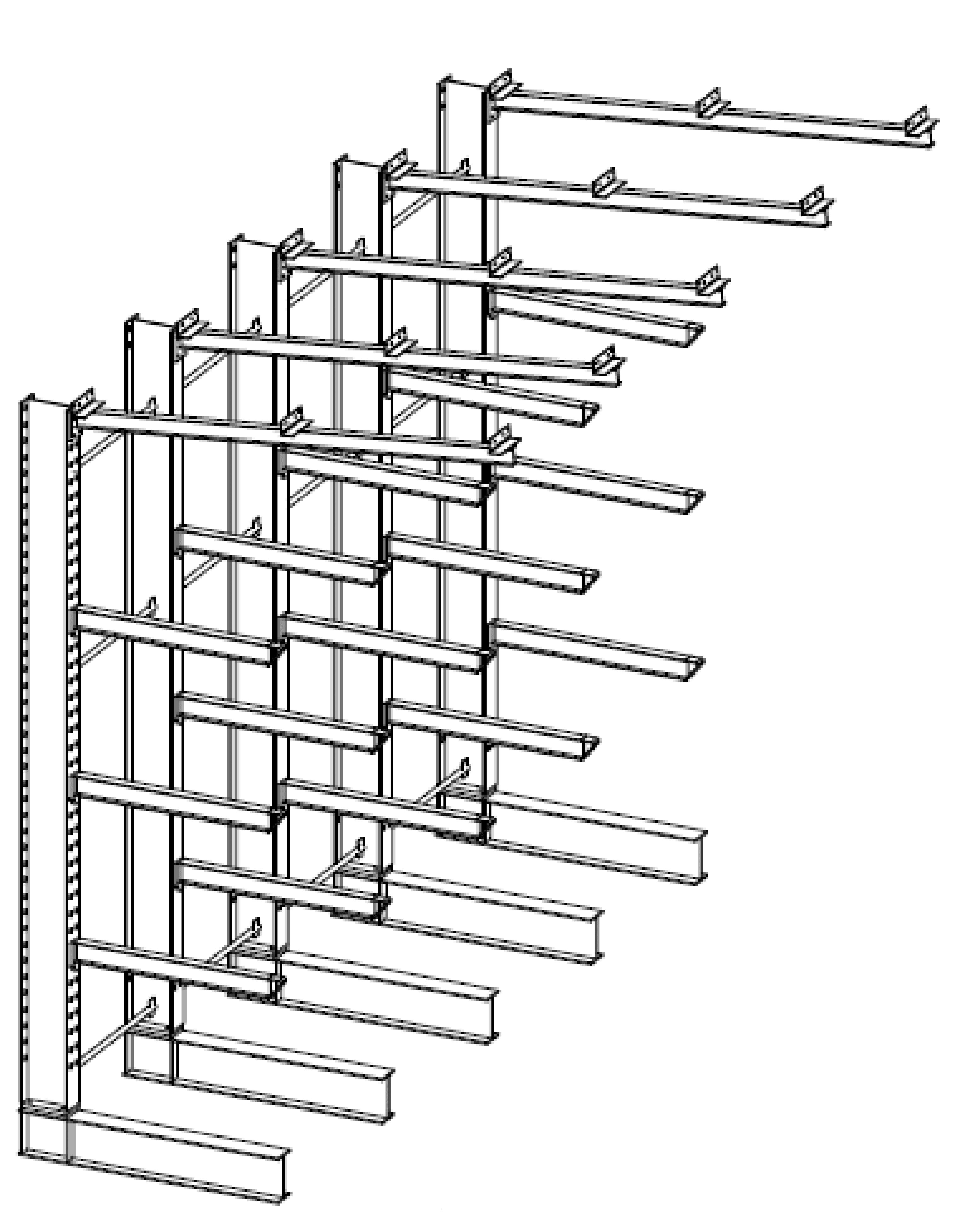 Enkelzijdige volbad verzinkte draagarmstelling met dakarmen voor buiten en met 4 niveaus van 1.200 mm diep.