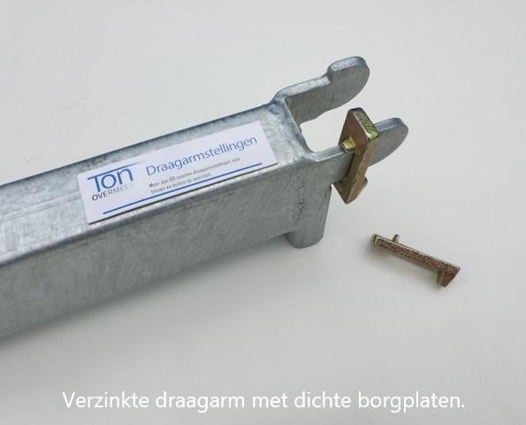Detail 5. Verzinkt buis draagarm voor inhaaksysteem OHRA met dichte borgplaten
