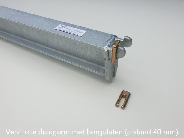 Detail 6. Verzinkte draagarm K40 inhaaksysteem armen zijn verstelbaar per 100 mm volgens het systeem van OHRA