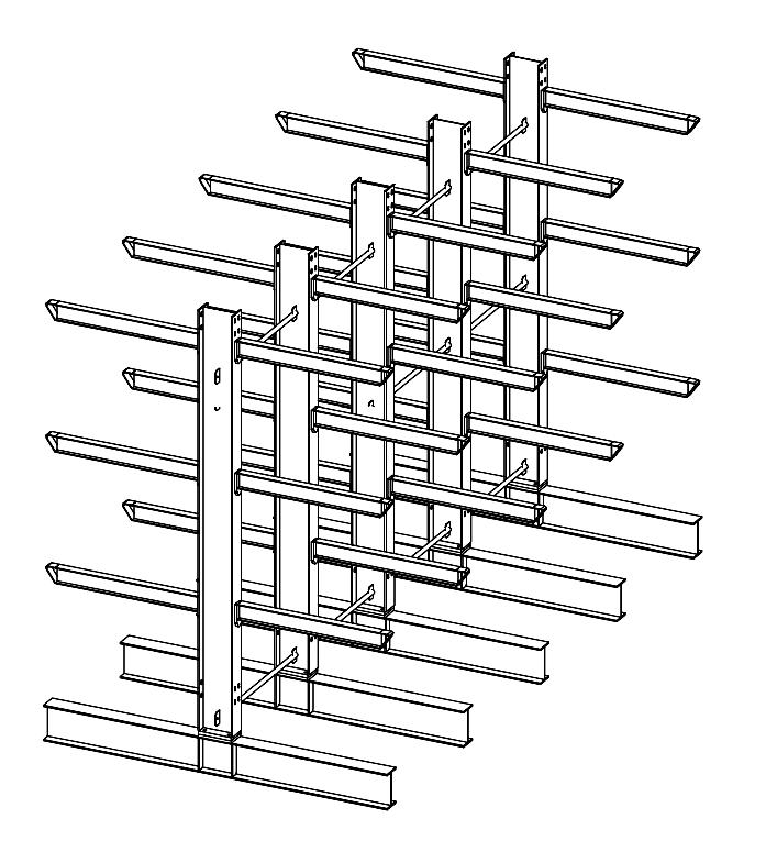 Dubbelzijdige zware draagarmstelling voor binnen met 4 niveaus van 1.200 mm diep en 1.240 kg draagvermogen per arm.