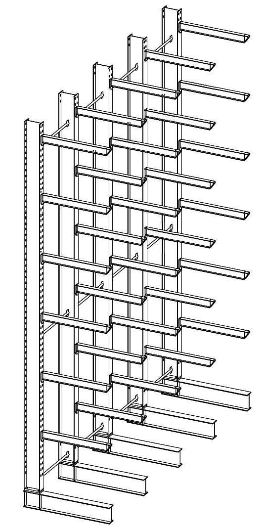 Enkelzijdige draagarmstelling voor binnen met 7 niveaus van 1.200 mm diep.