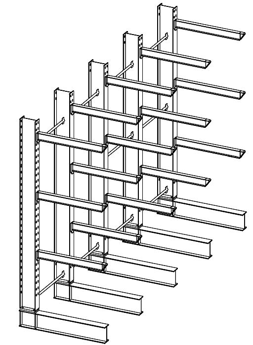 Enkelzijdige zware draagarmstelling 5,5 m hoog voor binnen met 4 niveaus van 1.200 mm diep.