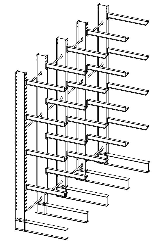 Enkelzijdige zware draagarmstelling 4,5 m hoog voor binnen met 5 niveaus van 1.200 mm diep.