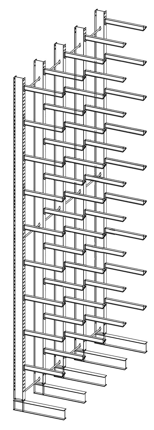 Enkelzijdige draagarmstelling voor binnen met 10 niveaus van 1.200 mm diep.