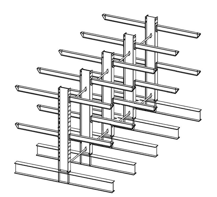 Dubbelzijdige draagarmstelling voor binnen met 3 niveaus van 1.200 mm diep.