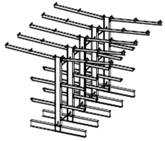 Dubbelzijdige volbad verzinkte draagarmstelling met dakarmen voor buiten en met 3 niveaus van 1.200 mm diep.