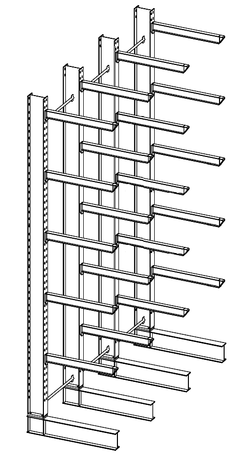Enkelzijdige zware draagarmstelling voor binnen met 6 niveaus van 1.500 mm diep.