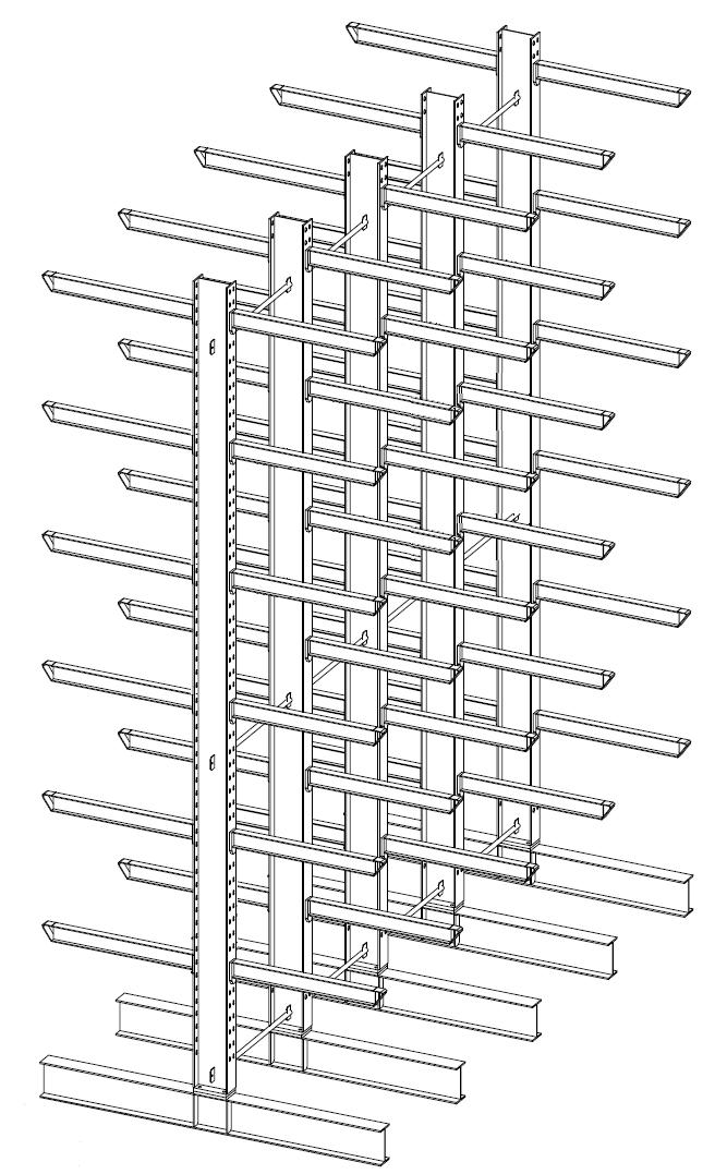 Dubbelzijdige draagarmstelling voor binnen met 7 niveaus van 600 mm diep.