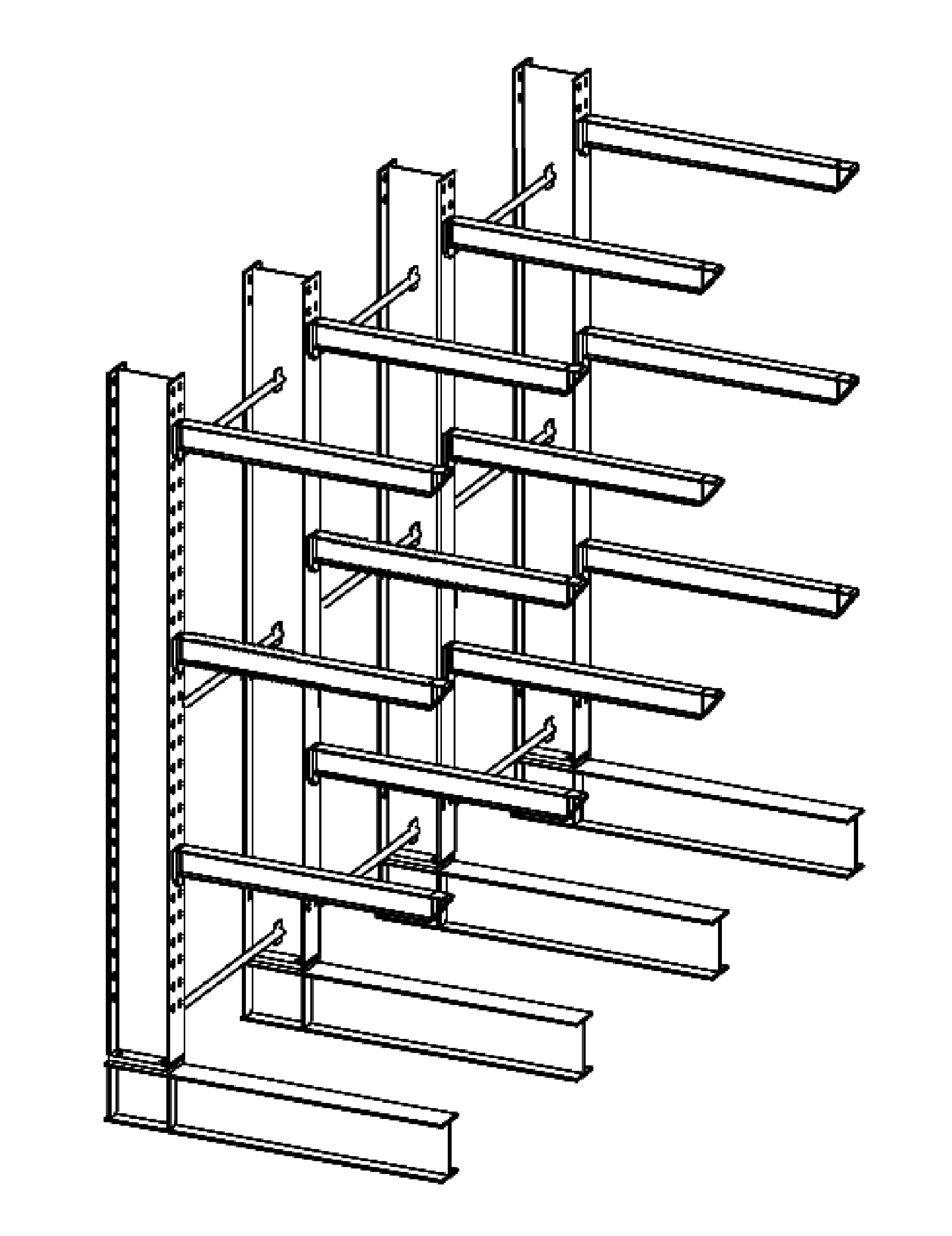 Enkelzijdige zware draagarmstelling 4,5 m hoog voor binnen met 4 niveaus van 1.200 mm diep en een draagvermogen van 1075 kg per arm.