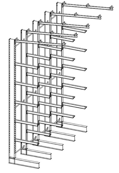 Enkelzijdige volbad verzinkte draagarmstelling met dakarmen voor buiten en met 6 niveaus van 1.200 mm diep.