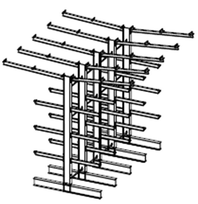 Dubbelzijdige volbad verzinkte draagarmstelling met dakarmen voor buiten en met 4 niveaus van 1.200 mm diep.