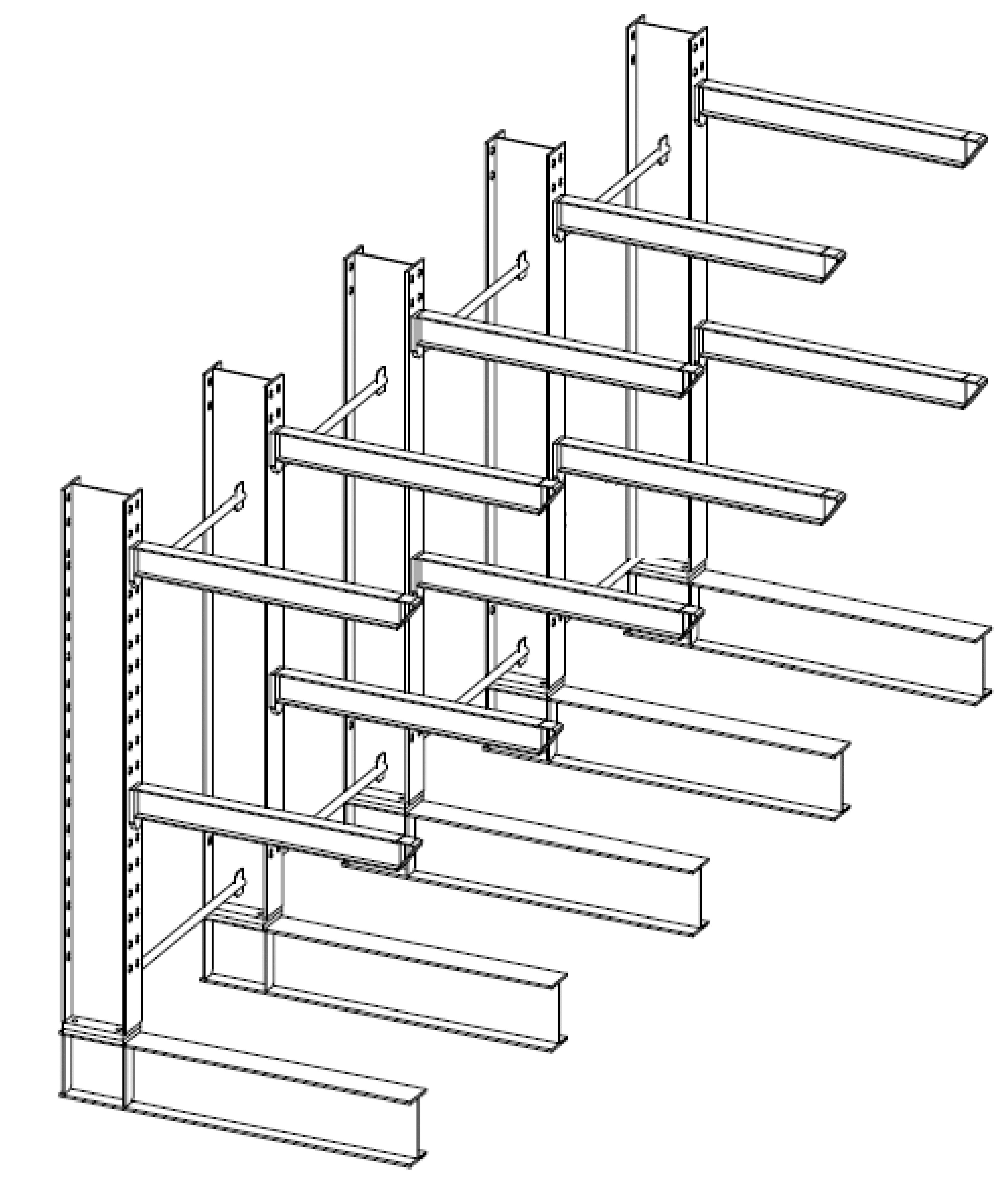 Enkelzijdige draagarmstelling voor binnen met 3 niveaus van 1.200 mm diep.