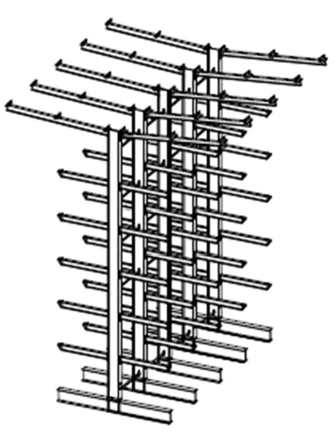 Dubbelzijdige volbad verzinkte draagarmstelling met dakarmen voor buiten en met 6 niveaus van 1.200 mm diep.