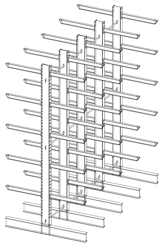 Dubbelzijdige zware draagarmstelling 5,5 m hoog voor binnen met 6 niveaus van 1.200 mm diep.