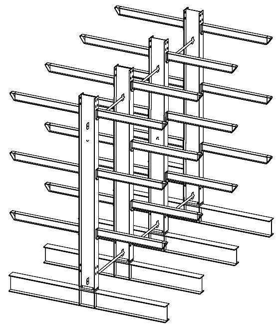 Dubbelzijdige zware draagarmstelling 4,5 m hoog voor binnen met 4 niveaus van 1.200 mm diep en een draagvermogen van 1230 kg per arm.