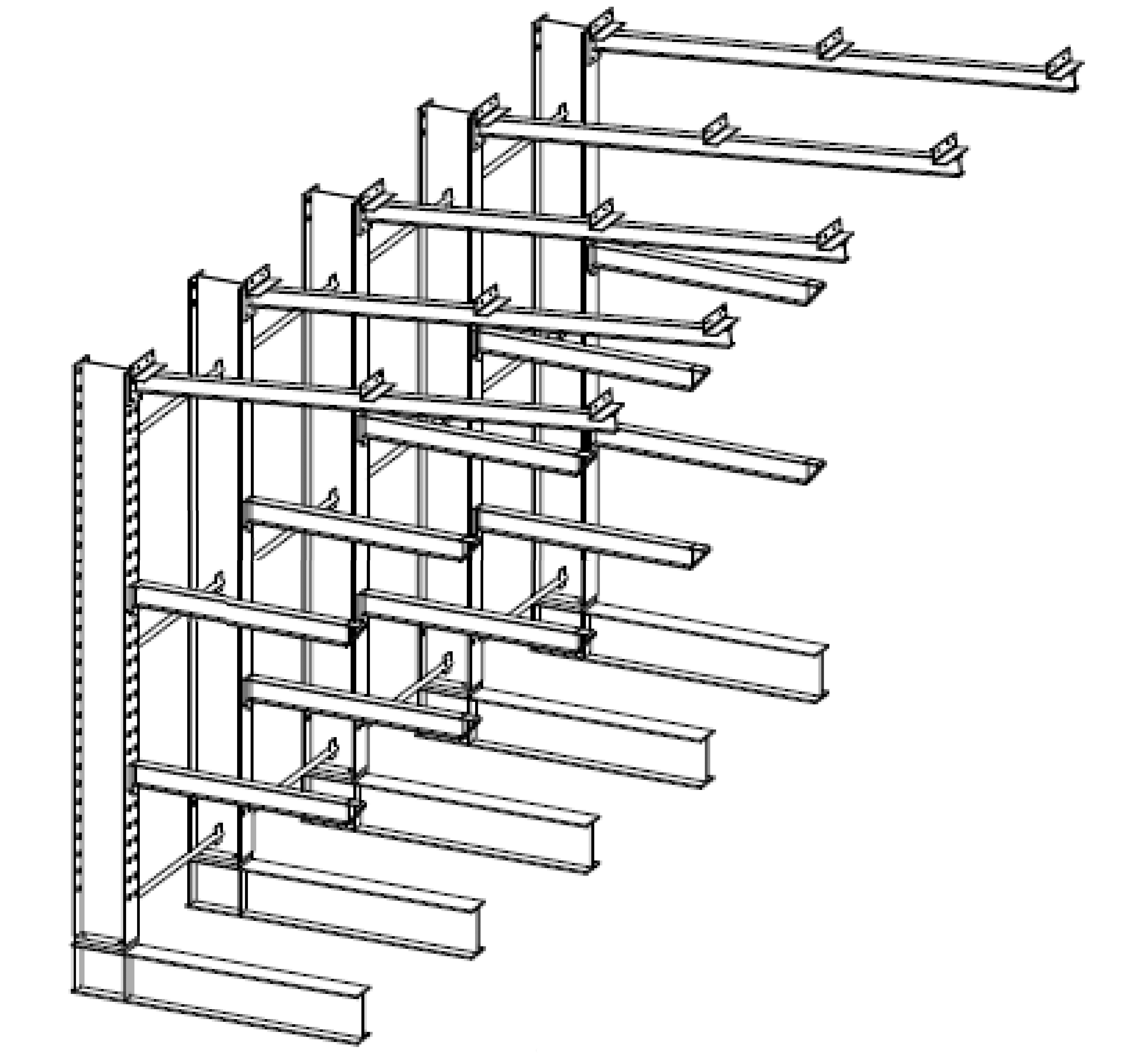 Enkelzijdige zware volbad verzinkte draagarmstelling met dakarmen voor buiten en met 3 niveaus van 1.200 mm diep.