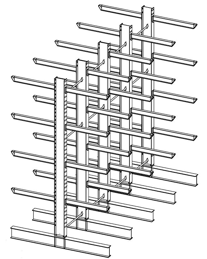 Dubbelzijdige zware draagarmstelling 4,5 m hoog voor binnen met 5 niveaus van 1.200 mm diep.