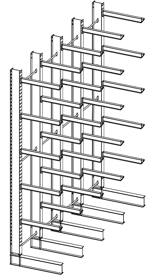 Enkelzijdige zware draagarmstelling 5,5 m hoog voor binnen met 6 niveaus van 1.200 mm diep.