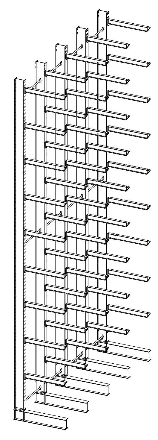 Enkelzijdige draagarmstelling met 8 niveaus 800 mm diep.
