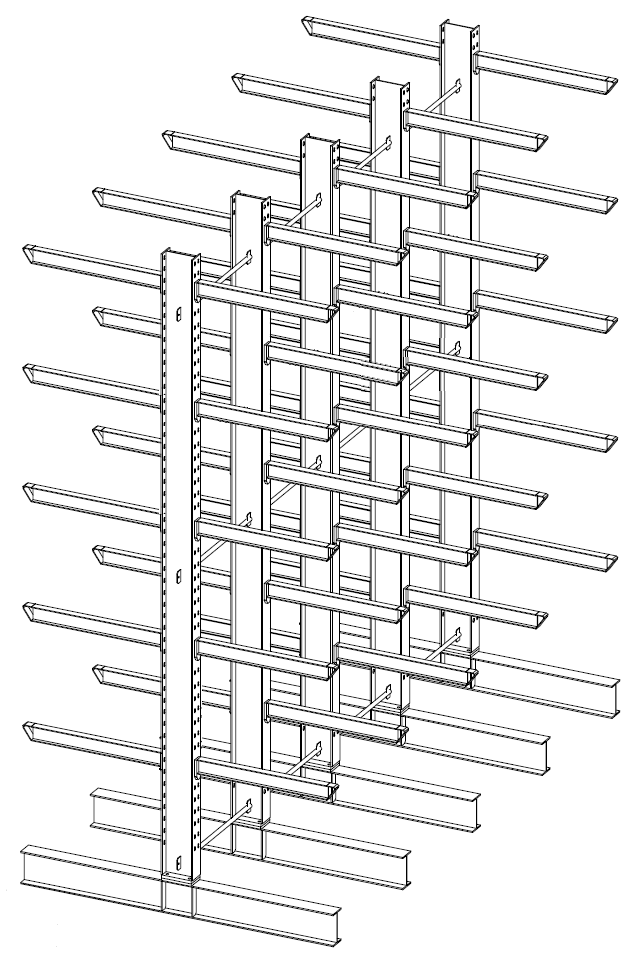 Dubbelzijdige zware draagarmstelling voor binnen met 6 niveaus van 1.200 mm diep.