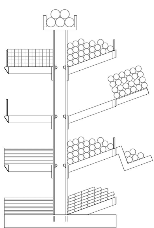 Tekening optie set met 4 x inzetstuk, 4 x verzamelbeugel en 4 x staanderkop-niveau.